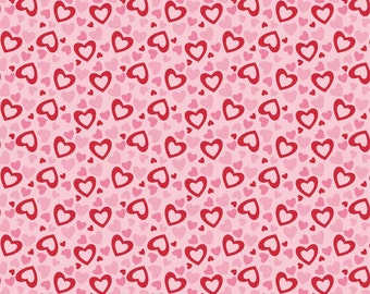 Riley Blake Heart Fabric - Pink and Red Heart Fabric - Valentine Fabric - Heart Cotton Fabric - Hearts Fabric - Pink Hearts Fabric - Hearts
