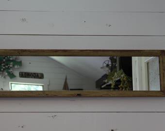 Vintage reclaimed wood cabinet door mirror, Upcycled cabinet door mirror