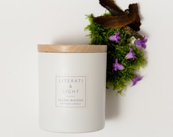 Seven Woods Luxury Vetiver, Moss and Bluebells Scented Soy Wax 240g Literary Candle Inspired by W. B. Yeats