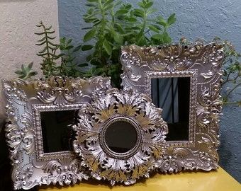 Set of three shabby chic silver ornate mirrors, save 20 percent when you buy all three and save with combined shipping