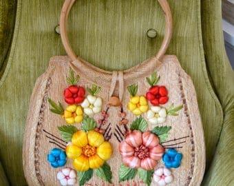 Vintage 1970 Straw Purse, Tourist Purse, Flower Straw Bag, Bahamas Purse, Vintage Straw handbag
