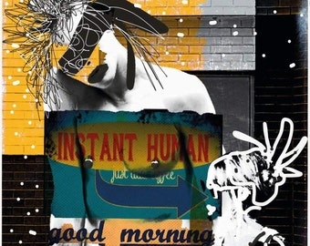 Instant human, good morning, coffee with a lady, yellow, photography, mixedmedia, artwork, poster, picture, Portrait, Make Love No war, Klimtstil