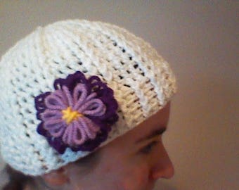 Crochet Ribbed Hat with Purple Flower