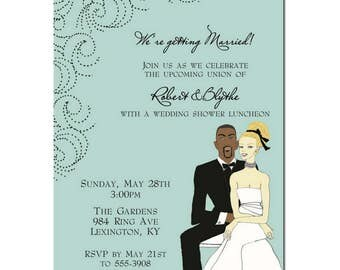 Bridal Shower Invitation | Interracial Coed Bridal Shower Invitation | Interracial Save the Date | Interracial Engagement Party Invitation