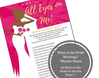 What is the Bride Wearing Bridal Shower Game - African American Bridal Shower Game Download - All Eyes on Me Shower Game -Instant Printable