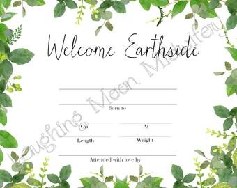 Birth certificate etsy commemorative birth certificate welcome earthside floral newborn footprint keepsake nursery art yadclub Gallery