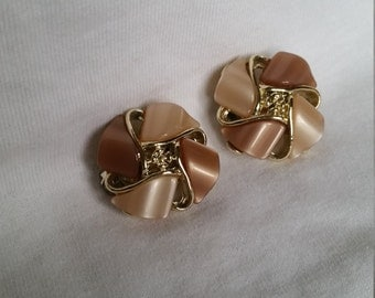 Two tone beige and gold clip on earrings