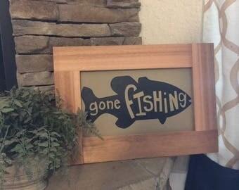 Rustic Fishing sign, Wood sign, Fishing wood sign, home decor, Wall art, Wall decor, Gone Fishing