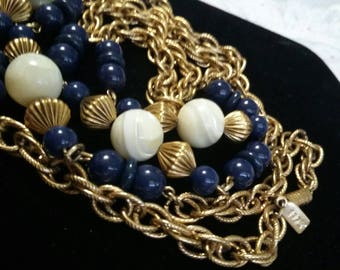 1928 blue beads and  stones gold necklace
