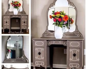 SOLD EXAMPLE..Painted furniture, painted vanity, shabby chic, vintage furniture, shabby chic furniture, vanity, antique vanity, custom order