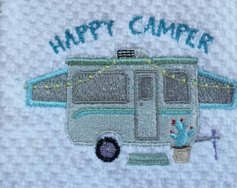 Happy Camper Pop Up Tent Glamping Camping  Kitchen Towel