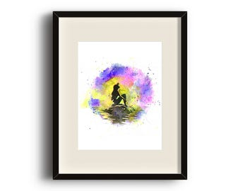 Disney Little Mermaid Watercolor - DIGITAL Art Print - Ariel, Mermaid, Night, Water, Moon, Instant Download, Watercolour 8x10 and 11x14