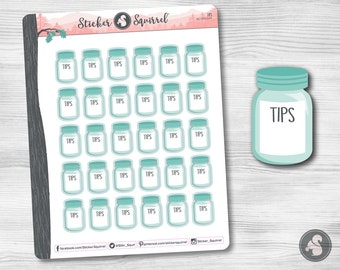 Tips Tracker Planner Stickers - tip jar tracking write on notes waitstaff reminder planners calendar erin condren reminders SC.TIPS.0217