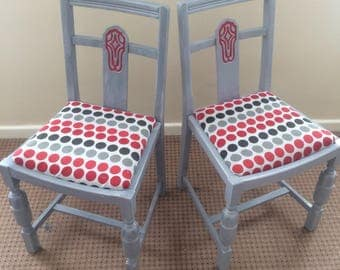 Polka Dot Hand Painted Oak Chair