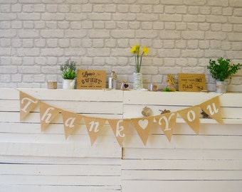 Thank You Large Banner Hessian Burlap Wedding Party Bunting Garland Decoration Thank you photo prop Engagement baby shower rustic