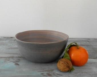 Medium bowl in ceramic violet, green, orange.