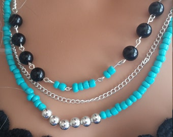 Turquoise silver and black set