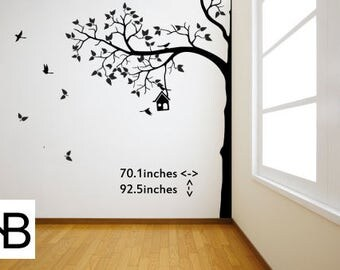 White Vinyl Wall Decal, Wall Sticker, Fun, Tree,Nursery Wall Decal, White Nursery Tree, Wall Decals, Modern Vinyl