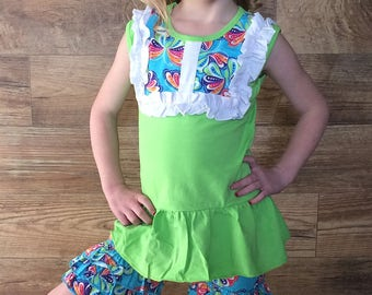 Lime green butterfly outfit