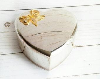 Silver Heart Box, Heart Jewelry Box, Silver Brass Box, Heart Keepsake Box, Wedding Box, Vintage Heart Box, Silver Box, Shabbychic Heart Box