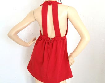 Vintage 60s hand made empire line backless mini dress Lipstick cherry red  Size S