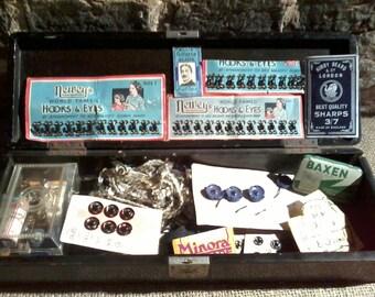 Vintage Haberdashery Box & Vintage Contents