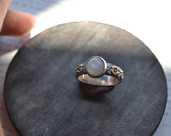 Rainbow Moonstone floral band ring- made to order- 8mm moonstone on floral band