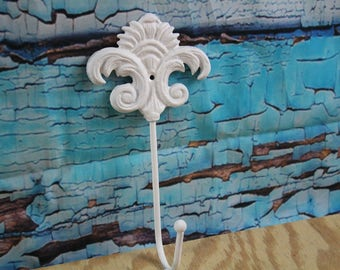 Cast Iron Decorative ornate Wall Hook White