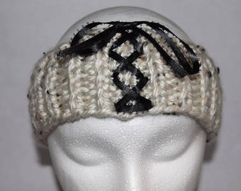 White Speckled Chunky Knit Headband, Chunky Knit Ear Warmers, with Ribbon