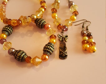 amber and yellow tones flip flop jewellery set