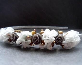 decorated headband, Harreif, hair jewelry, wedding, Festival, Kommuniom, flowers, beads, 03