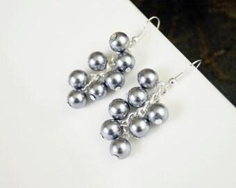 Pearl Cluster Bridal, Bridesmaid, or Flower Girl Wedding/Prom Dangle Earrings