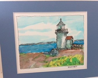 original watercolor painting, Lighthouse, art, water color matted, free shipping in usa