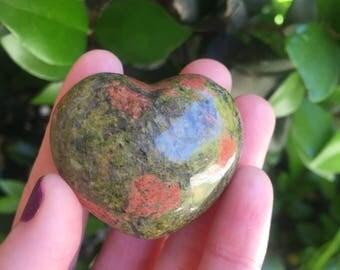 Unakite Heart / Boosts fertility / Reiki charged