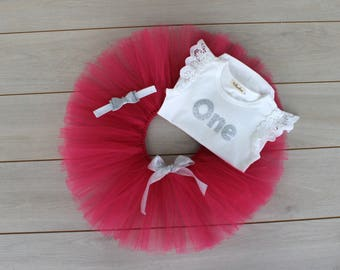 3 Piece Raspberry Cake Smash Outfit/ First Birthday Set - Tutu, Romper And Headband