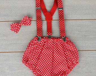 Red & White Polka Dot 3 Piece Cake Smash Outfit - First Birthday
