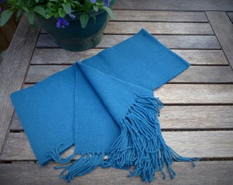 Teal, plain-weave scarf with tassels