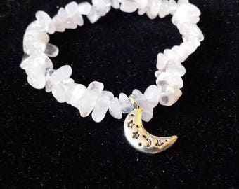 Rose Quartz bracelet with moon charm