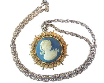 Vintage 1970's Large/Oversized Gold Tone Metal and Blue Cameo Pendant with Long Gold Chain