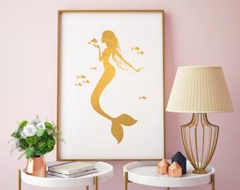 Mermaid Gold Foil Print, Swimming Mermaid, Gold Print, Art Print in Gold, Illustration Gold Foil, Mermaid Gold Foil Art Print