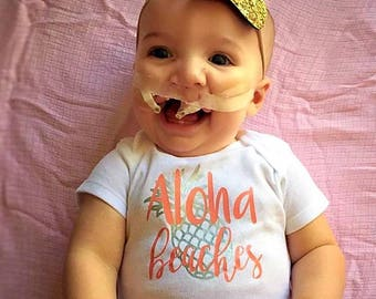 Aloha Beaches Baby Onesie // beach body suit  // Baby Onesie // Funny Baby shirt // Funny Baby Onesie // Boating onesie // anchor