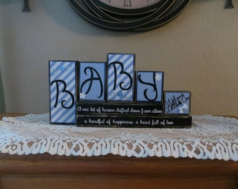 Baby Boy Wood Blocks Heaven Stacked Blocks Blue Nursery Nursery Decor Baby Gift