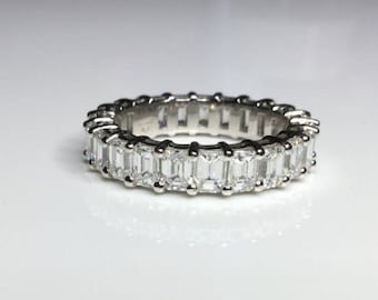 Platinum 5.75 CTW Emerald Cut Diamond Eternity Wedding Band Ring Size 6.5