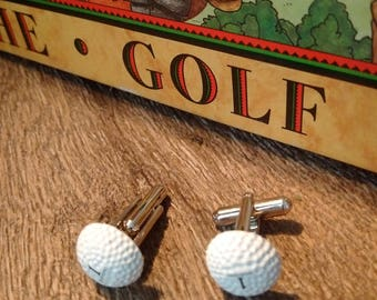 MEN's GOLF CUFFLINKS perfect gift for golf fanatic, handmade golf ball cuff links, golf accessories, golf-themed memorabilia