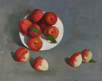 Peach Still Life   Original Oil Painting on Canvas 23inX19.5in