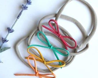 Dainty Suede Bow Nylon Headband (Set of 4)/ Dainty  Bow Headband/ Suede Bow Headband/ Spring Bows