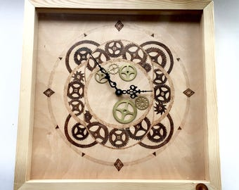 Pyrographed 'Clock in a box'. Mechanically workings illustration with brass cog embellishments. Battery powered.