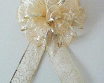 Gold christmas bow, gold bow, christmas bow, sparkle bow, present decor, holiday decor, birthday decor,