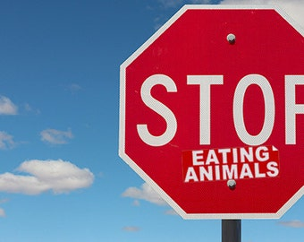 "STOP ""EATING ANIMALS"" - Novelty Activism Sticker (Stop Sign Sticker)"