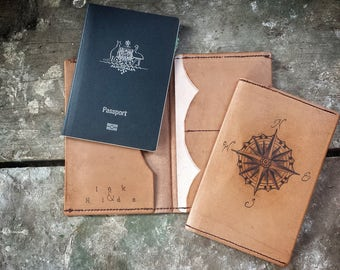 Homeward bound, Tattooed leather Passport cover booklet Wallet, Father's Day gift  Passport + card and open compartment